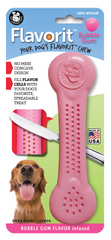 Flavorit Bone Bubble Gum Flavor Dog Chew Toy, Made in USA - Pet Qwerks | Interactive Dog Toys