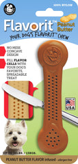 Flavorit Bone Peanut Butter Flavor Infused Dog Chew Toy, Made in USA - Pet Qwerks | Interactive Dog Toys