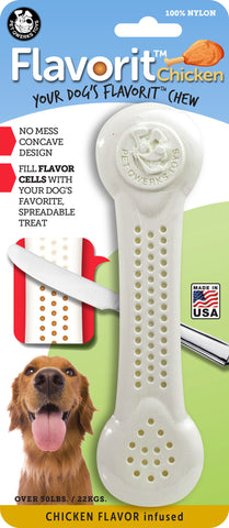 Flavorit Bone Chicken Flavor Infused Dog Chew Toy, Made in USA