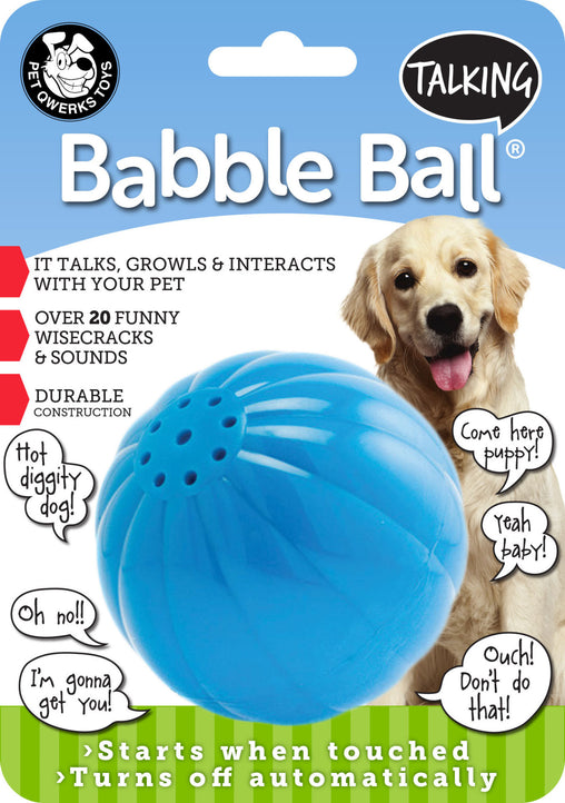 Talking Babble Ball Interactive Dog Toy, Wisecracks and Makes Funny Sounds When Touched! - Pet Qwerks | Interactive Pet Toys