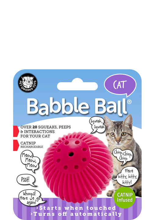 CAT Babble Ball Interactive Cat Toy, Meows and Makes Funny Sounds when Touched! - Pet Qwerks | Interactive Pet Toys