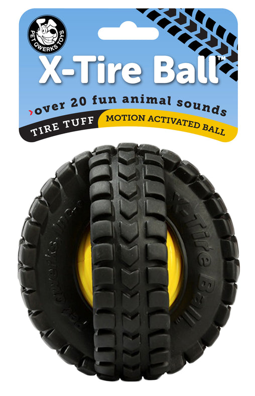 Animal Sounds X-Tire Ball Interactive Dog Toy - Pet Qwerks | Interactive Pet Toys