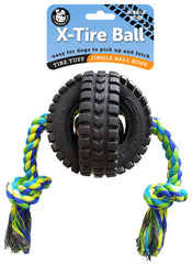 Jingle X-Tire Ball with Single Rope (Large) - Pet Qwerks | Interactive Dog Toys