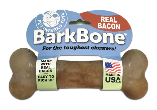 Bacon BarkBone Dog Chew Toy, Made in USA - Pet Qwerks | Interactive Dog Toys