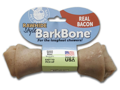 Rawhide Style Bacon BarkBone Dog Chew Toy for Aggressive Chewer, Made in USA - Pet Qwerks | Interactive Dog Toys