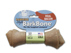 Rawhide Style Bacon BarkBone Dog Chew Toy for Aggressive Chewer, Made in USA - Pet Qwerks | Interactive Pet Toys