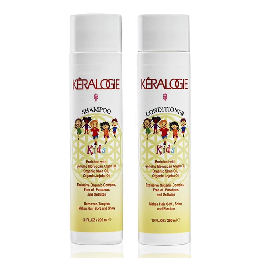 Keralogie All Natural Shampoo & Conditioner Kit for Kids with Moroccan Argan Oil - (10 fl oz)