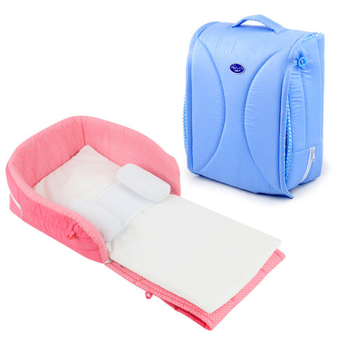Portable Folder Baby Bed, Co Sleeping on Bed Pink and Blue Travel Bed