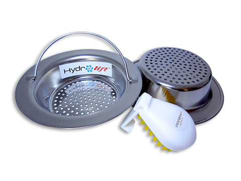 Hydrolift Easy Handle Kitchen Sink Strainer - Get 2 Stainless Steel Strainers and a FREE Cleaning Brush