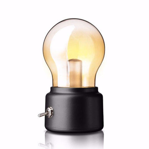 Retro 10W LED USB Rechargeable Globe Light Bulb Warm White Table Lamp (Black Base) @ DC5V