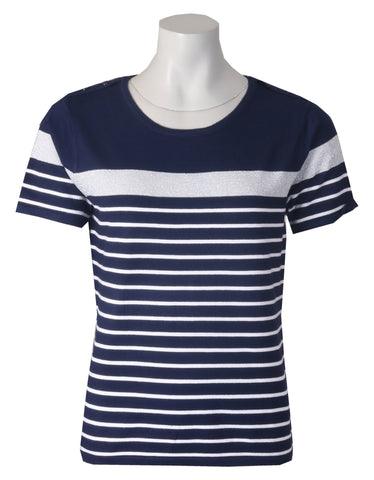 Short Sleeve Striped Jumper - Navy/Ivory