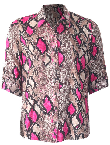 Animal Print Blouse - Chocolate/Cerise
