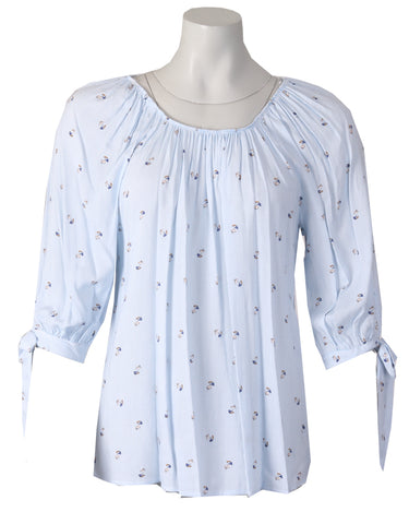3/4 Sleeve Tie Blouse - Blue