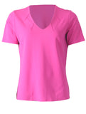 V Neck with Notches - Cerise