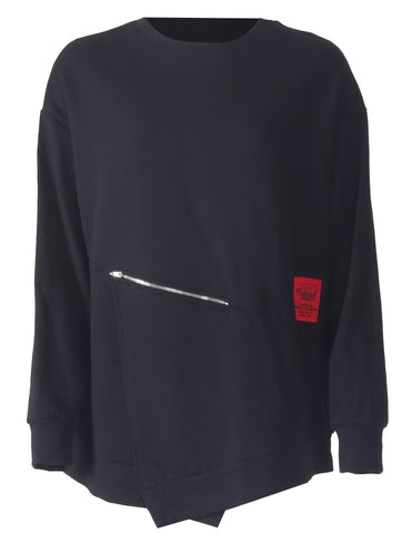 Zip Sweat Top - Black