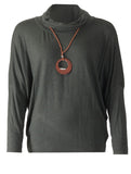 Top with Necklace - Khaki