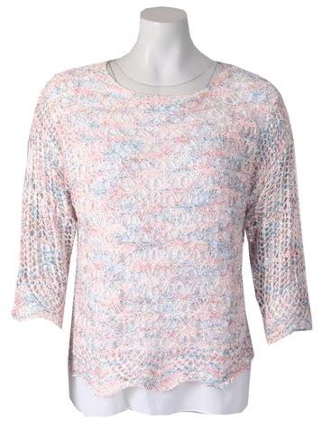 3/4 Sleeve Crotchet Top - Cream Multi