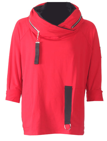 Tab Zip Neck Top - Red