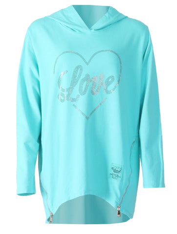 Love Zip Hooded Top - Black