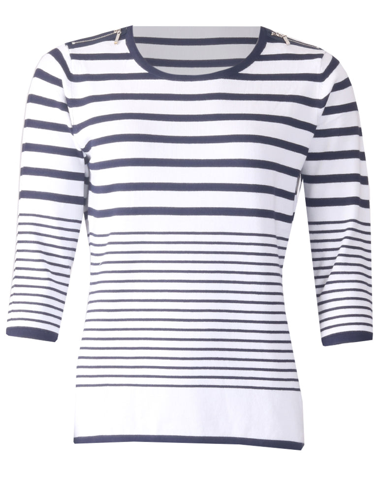 Zip Shoulder Stripe Jumper - Optic White/Navy