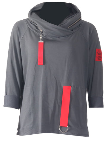Tab Zip Neck Top - Charcoal