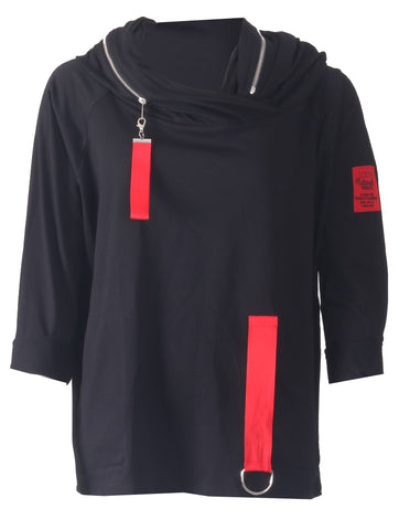 Tab Zip Neck Top - Black