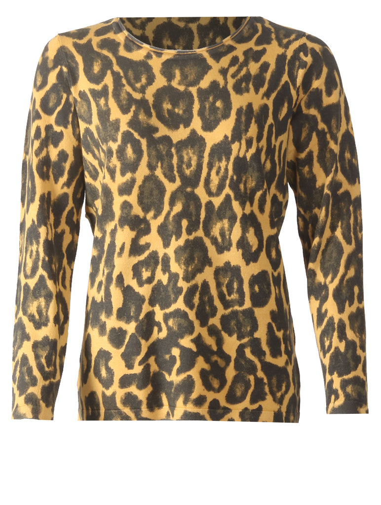 Long Sleeve Printed Jumper - Gold/Black