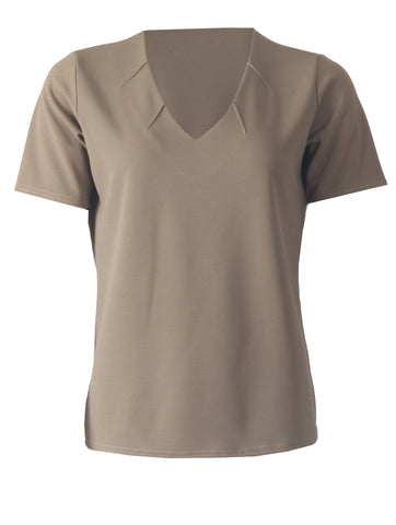 V Neck with Notches - Khaki