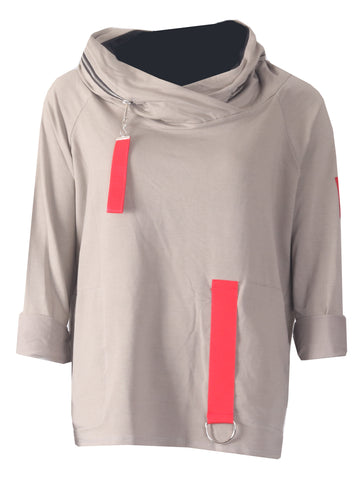 Tab Zip Neck Top - Beige