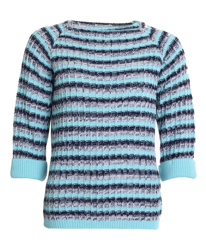 Stripe Turn Back Jumper - Aqua/Navy/White