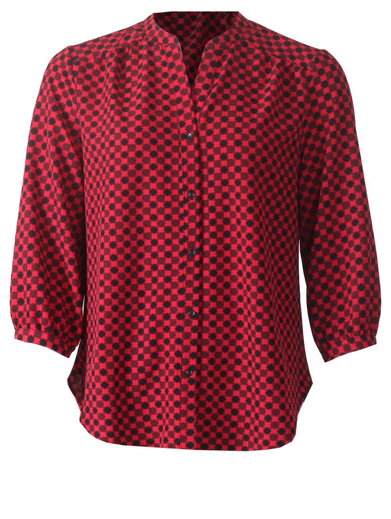 3/4 Sleeve Blouse - Red