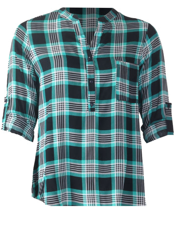 Turn Back Sleeve Shirt - Jade/Navy