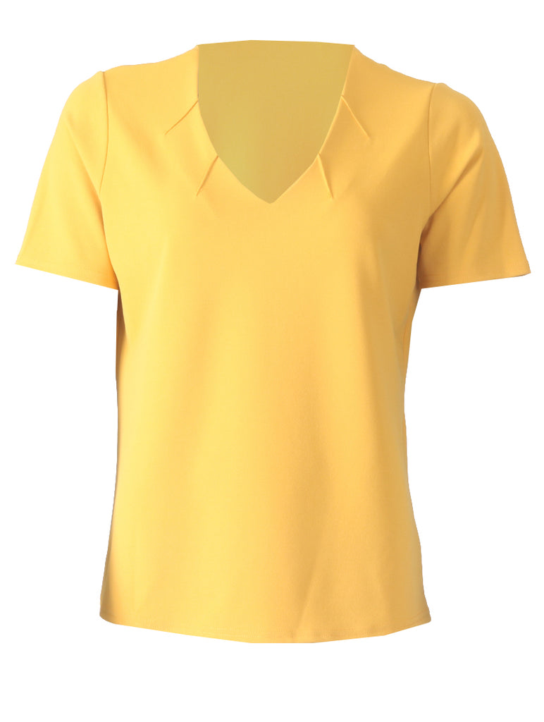 V Neck with Notches - Ochre
