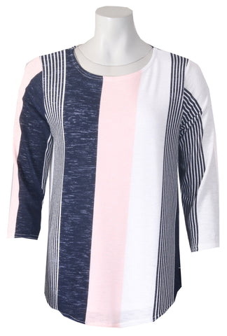 3/4 Sleeve Top - Navy/Pink