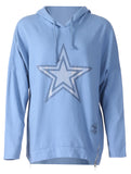 Silver Star Hooded Zip Top - Baby Blue