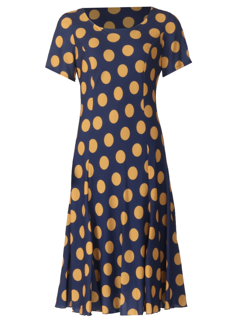 Spot Lined Dress - Mustard/Navy