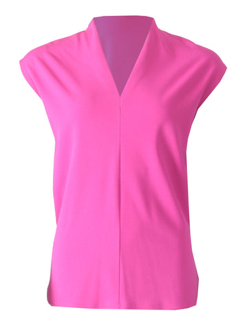 V Neck Top - Cerise