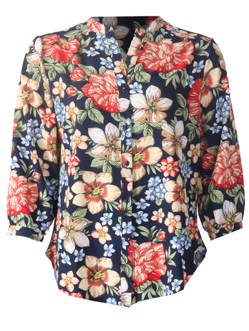 Open Collar Blouse - Navy Print