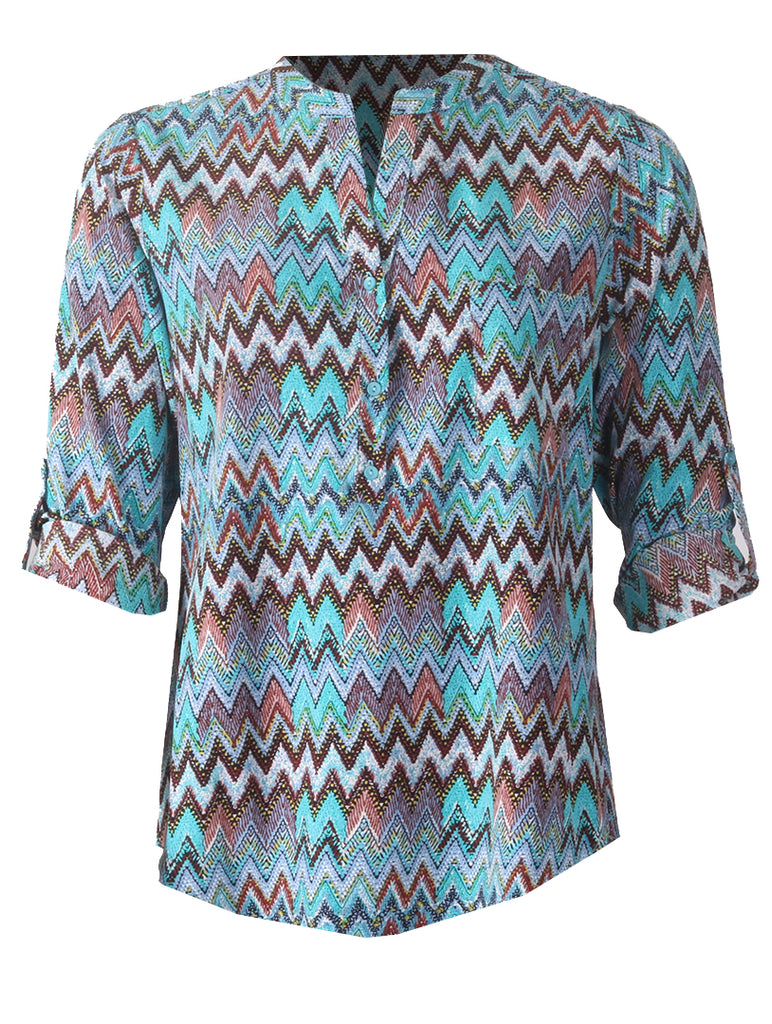 Zig Zag Turn Back Blouse - Blue