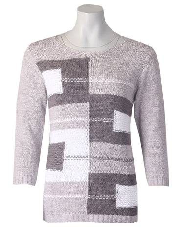 3/4 Sleeve Jumper - Grey Combo