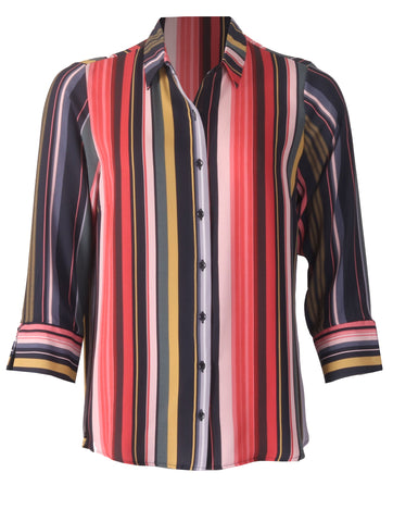 Split Sleeve Shirt - Multi Stripe