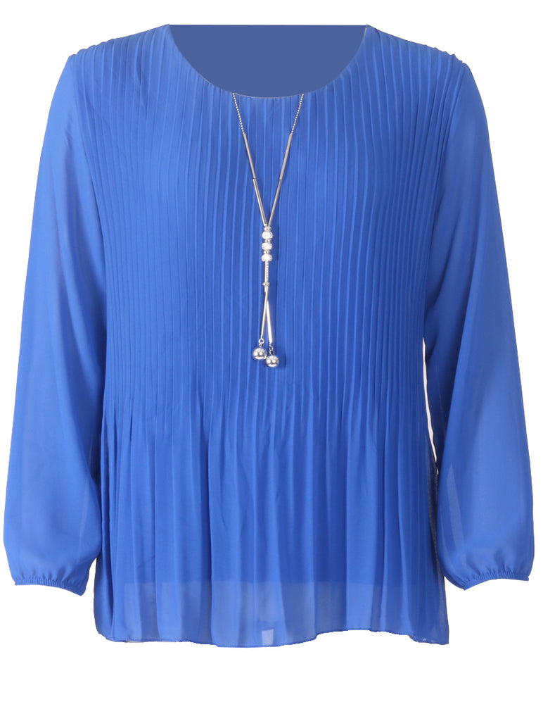 Pleated Long Sleeve Top - Royal