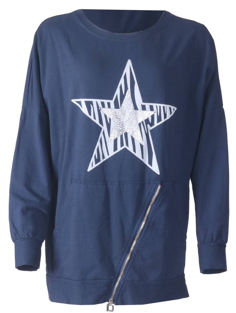 Star Zip Top - Navy