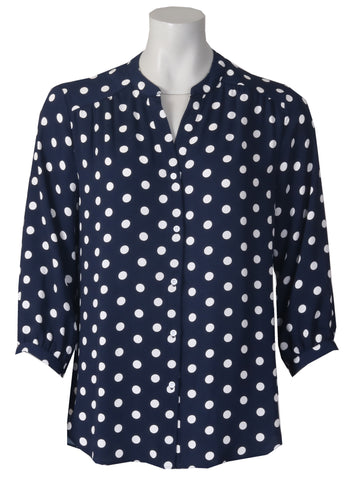 3/4 Sleeve Blouse - Navy/Ivory