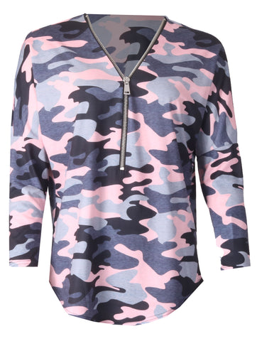 Army Zip Top - Pink