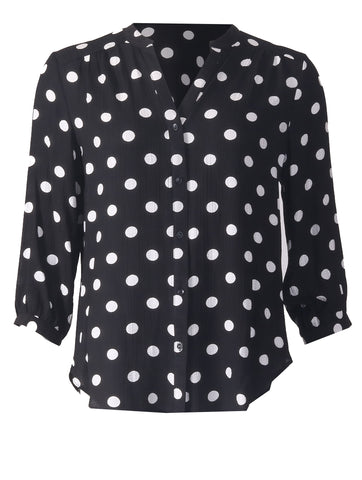 3/4 Sleeve Blouse - Black