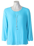 Long Slv Pleated Blouse - Turquoise
