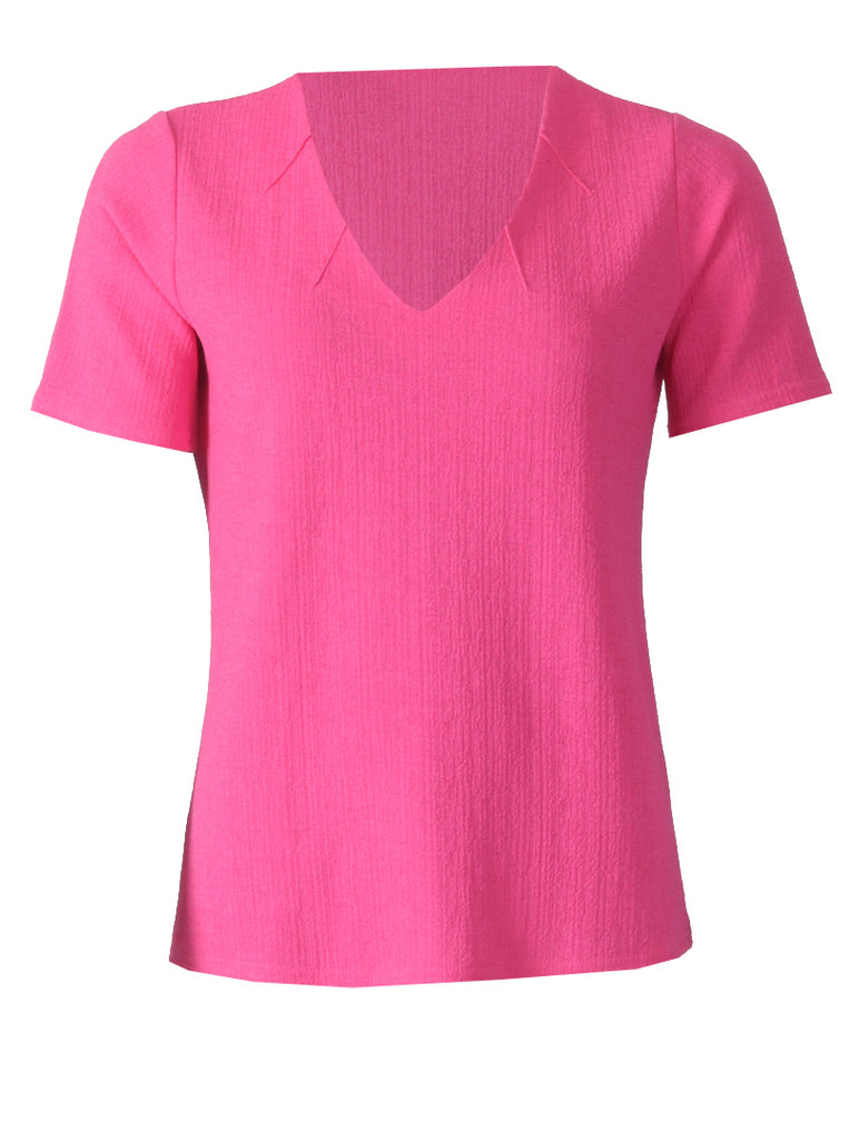 V Neck with Notches Top - Pink