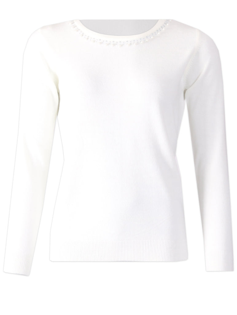 Round Neck Pullover - Ivory
