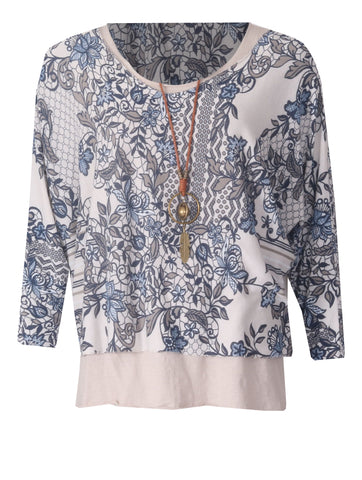 2 Piece Lace Floral Top - Stone